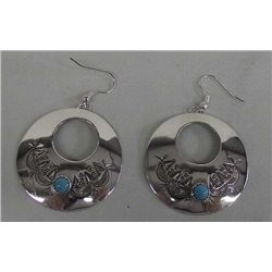 Navajo Sterling Turquoise Earrings - Blackgoat