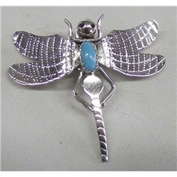 Navajo Sterling Turquoise Dragonfly Pin - Yazzie