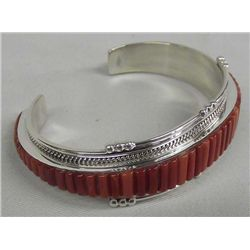 Navajo Sterling Red Shell Bracelet - Douglas