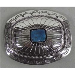 Navajo Sterling Turquoise Buckle - Muskett