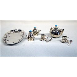 Navajo Sterling Miniature Tea Set - E. Whitman