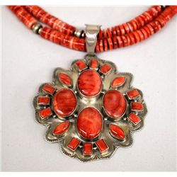 Navajo Sterling Red Shell Necklace - J. Mariano