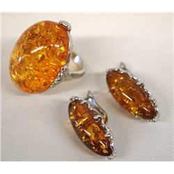 Amber Ring and Earrings