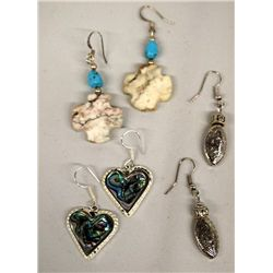 3 Abalone Sterling Turquoise Pierced Earrings