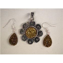 Gold Druzy Marcasite Earrings & Pendant