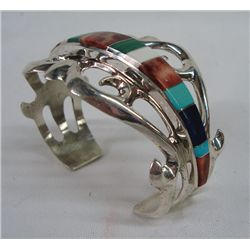 Navajo Sand Cast Inlay Bracelet
