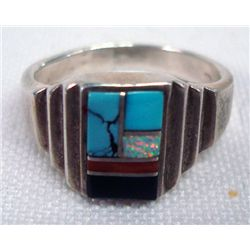 Zuni Dainty Sterling Silver Inlay Ring