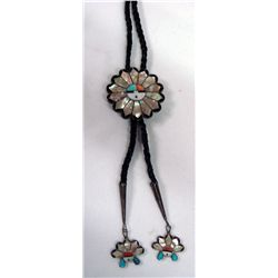 Vintage Zuni Sterling Inlay Sunface Bolo