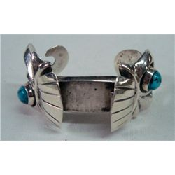 Navajo Sterling Turquoise Sand Cast Watch Band