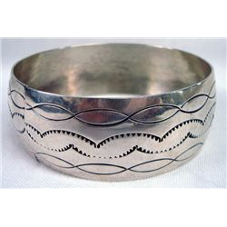 Navajo Sterling Silver Wide Bangle Bracelet-Signed