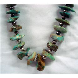 Navajo Nevada Green Graduated Nugget Necklace