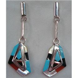 Zuni Sterling Inlay Earrings -  Pimo