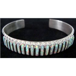Zuni Sterling Opal Channel Inlay Bracelet