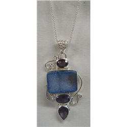 Agate Druzzy Amethyst Pendant Necklace
