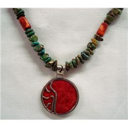 Sterling Turquoise Coral Pendant Necklace