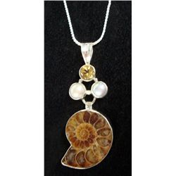 Ammonite Sterling Pendant Necklace