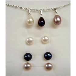 Fresh Water Pearl Pendant & Earring Sets