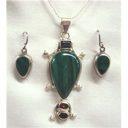 Malachite Pendant Necklace & Taxco Pierced Earring