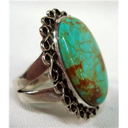 Sterling Silver 6+Turquoise Ring Size 10