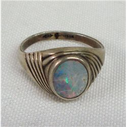 Genuine Fire Opal & Sterling Ring Size 8