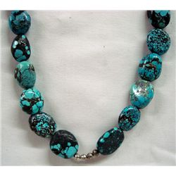 Turquoise Nugget & Silver Necklace