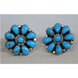 Zuni Turquoise Petit Point Earrings Hallmark ''DB''