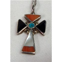 Zuni Inlay Sterling Cross Necklace