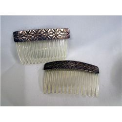 1960 Navajo Sterling Silver Hair Combs - P.J.