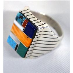 Zuni Sterling Channel Inlay Ring Size 12