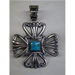 Navajo Sterling Turquoise Pendant - E.S. Mitchell