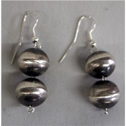 Navajo Sterling Hollow Bead Earrings - V. Tso