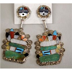Zuni Sterling Inlay Eagle Dancer Earrings - Signed