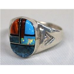 Zuni Sterling Channel Inlay Ring - Lincoln