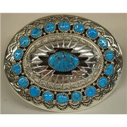 Navajo Sterling Silver Turquoise Buckle by Muskett