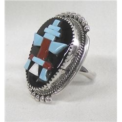 Zuni Overlay Stone to Stone Knifewing Ring - Etsat