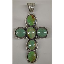Navajo Sterling Turquoise Cross Pendant - Tom