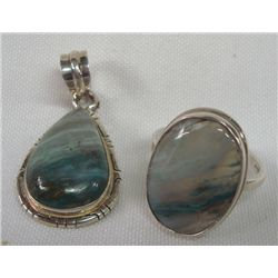 Sterling Silver Peruvian Opal Ring & Pendant