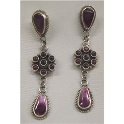 Navajo Sterling Purple Shell Earrings - D. Brown