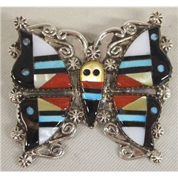 Zuni Sterling Stone-to-Stone Butterfly Pin/Pendant