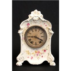 White porcelain clock with flowers