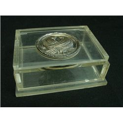 Lucite box with sterling medallion