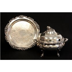 Silver plated soup tureen & tray