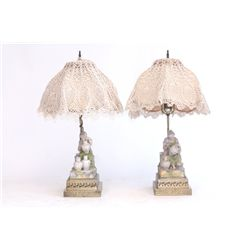Pair bisque figural lamps with silk shades