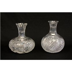 2 cut glass water bottles