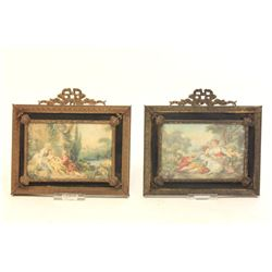 Pair of brass framed pictures