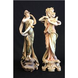 Pair Teplitz bisque figures signed A Doebrich