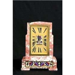 Marble & enamel mantle clock