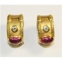18kt gold tourmaline & diamond earrings