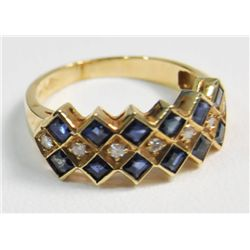 14kt yellow gold sapphire & diamond ring