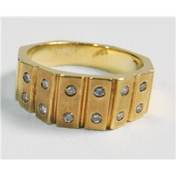 14kt yellow gold diamond studded ring